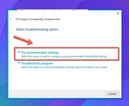 presione el botón Probar configuración recomendada