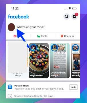 toque la imagen de perfil en la esquina superior izquierda
