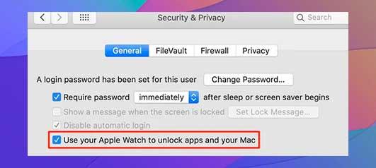 Deshabilita la opción Usar el Apple Watch para desbloquear aplicaciones y Tu Mac