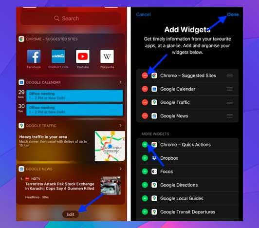 Editar hoy Ver widgets