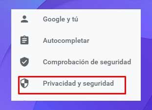 Elija la opción Privacidad y seguridad en la barra lateral izquierda