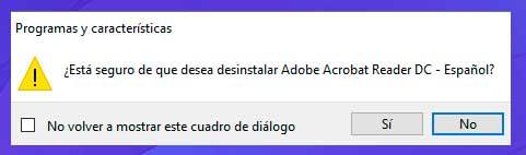 Haga clic en Sí en el mensaje que aparece en la pantalla para desinstalar la actualización