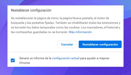 Haz clic en Restablecer configuración.