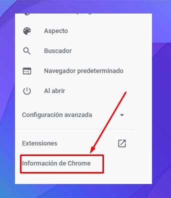 Haz clic en la opción informacion de Chrome en la barra lateral izquierda