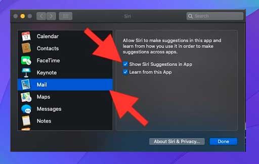 Mostrar sugerencia de Siri en el correo