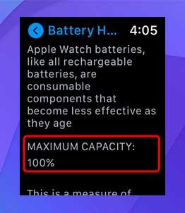 Podrá ver la capacidad máxima de la batería de su reloj aquí