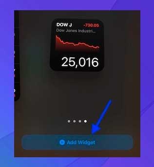 Presione la opción Agregar widget