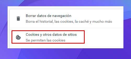 Seleccione Cookies y otros datos