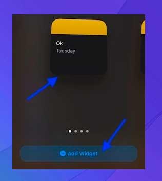 Toca Agregar widget