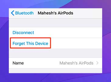 Toca Olvidar este dispositivo para desvincular los AirPods