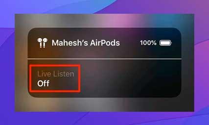Toca la opción De escucha en vivo