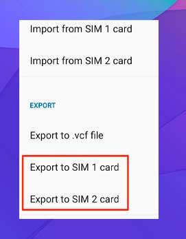 Toca la opción Exportar a tarjeta SIM