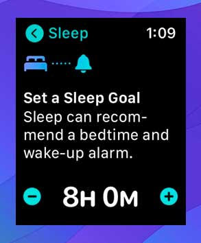 Toque 'Siguiente' y luego decida su objetivo de sueño