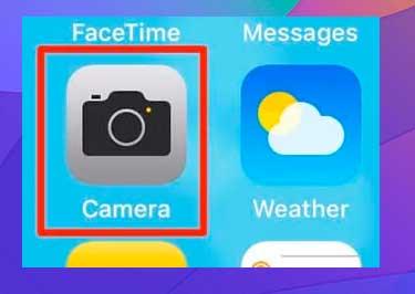 Toque la aplicación Cámara en su pantalla de inicio