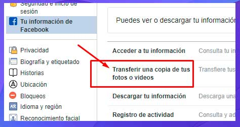 Transfiere una copia de tus fotos y videos