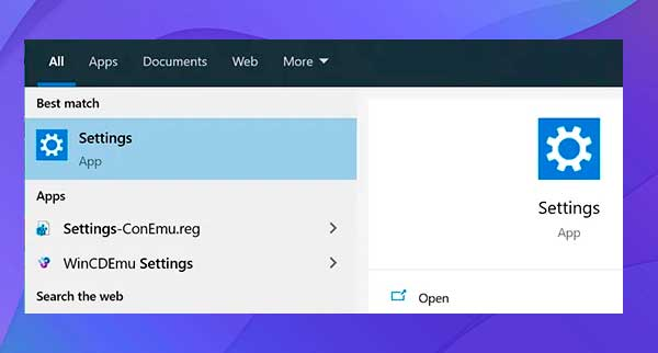 Use la búsqueda de Cortana para iniciar la aplicación Configuración