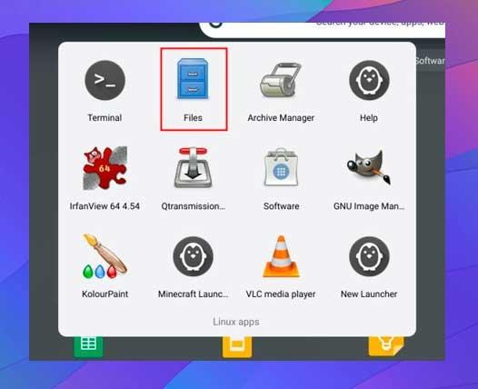 busque la carpeta de aplicaciones Linux