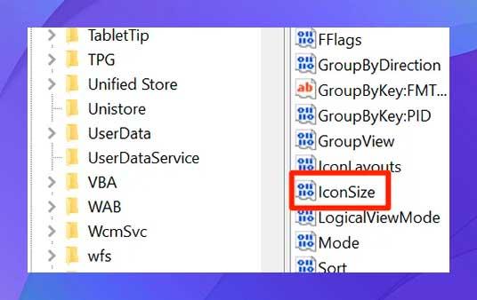 busque la entrada que dice IconSize