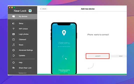 clic en Aceptar en la aplicación Mac para conectarte a tu iPhone