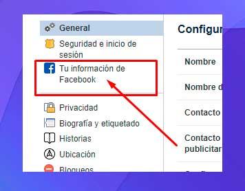 clic en Su información de Facebook