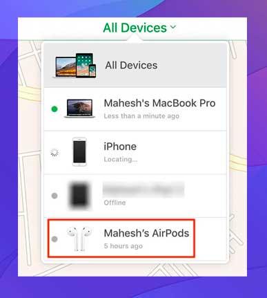 clic en Todos los dispositivos en la parte superior y selecciona tus AirPods