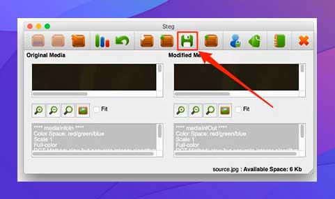 clic en la opción Guardar para guardar su imagen JPG con sus archivos ocultos