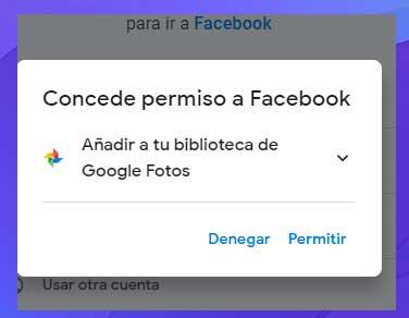 concede permiso a Facebook para agregar contenido multimedia a Google Fotos