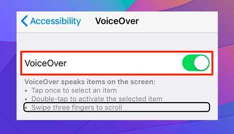 deshabilita VoiceOver