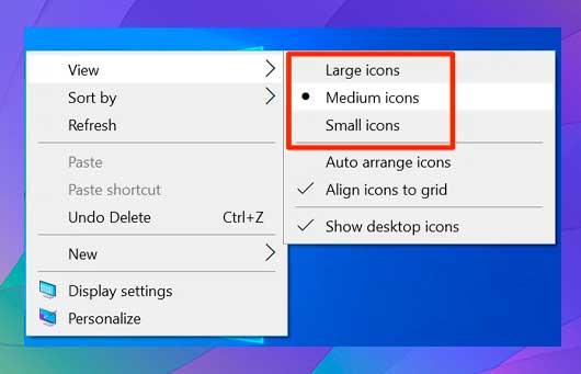 elegir iconos grandes, iconos medianos e iconos pequeños
