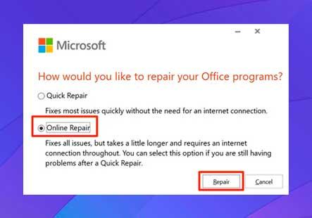 elija la opción Reparación en línea