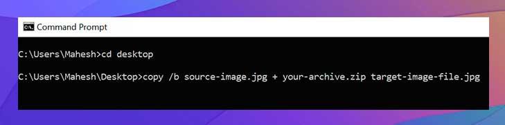 este será el archivo resultante que contiene su imagen y su archivo ZIP
