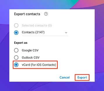 haga clic en Exportar para guardar los contactos en el equipo