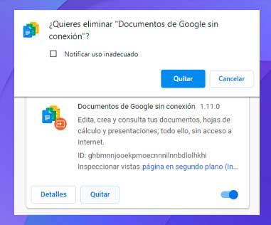 haz clic en el botón Eliminar para eliminarla por completo de Chrome