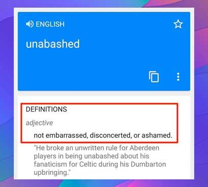 sección etiquetada como Definiciones justo debajo del cuadro de traducción
