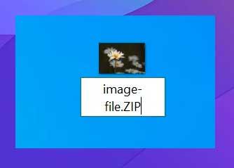 seleccione Cambiar nombrey cambie la extensión a ZIP