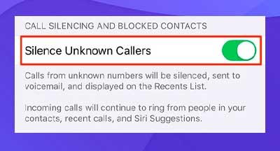 Desactive la opción Silenciar llamadas desconocidas.