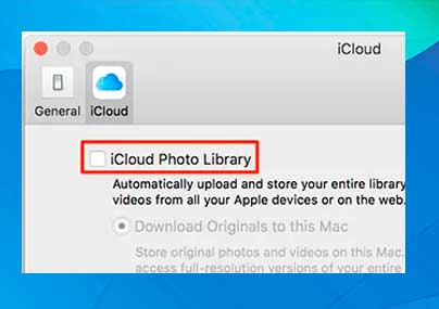 Marca la opción Fototeca de iCloud