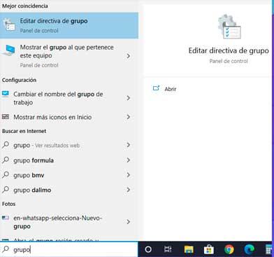 """Presione la tecla Windows una vez y escriba """"grupo"""" en la barra de búsqueda"""