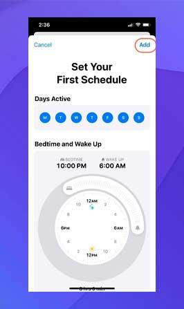 Puede seleccionar los días junto con el tiempo de activación y sueño