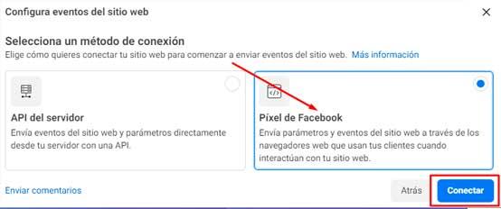 Seleccione Facebook Pixel y haga clic en Conectar
