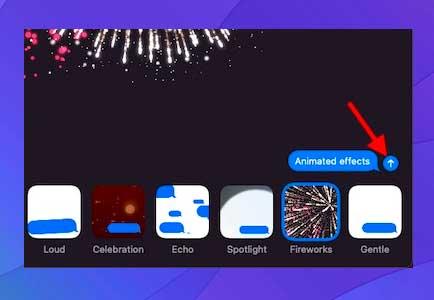 presione la flecha para enviar el iMessage con el efecto